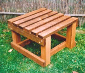 "Rainbarrel Stand - 18""  DIY out of wood, 2x4 and 4x4. Original dimensions are 27 x 27"". Height is 18"" or 24""."