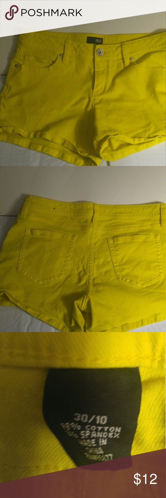 "Ana women's yellow shorts size 30/10 NWOT cute Yellow shorts zip and button 34"" waist, 12"" long, 4"" inseam, 9"" rise Ana Shorts Jean Shorts"