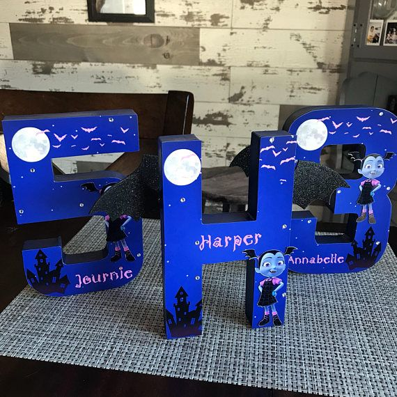 This 8 Personalized Vampirina Birthday Number is a great party centerpiece! Message me for a custom listing pertaining to larger numbers/letters. The letter is 3D stands alone and is painted to match the background of the front of the letter. Price is per number/letter. Due to the
