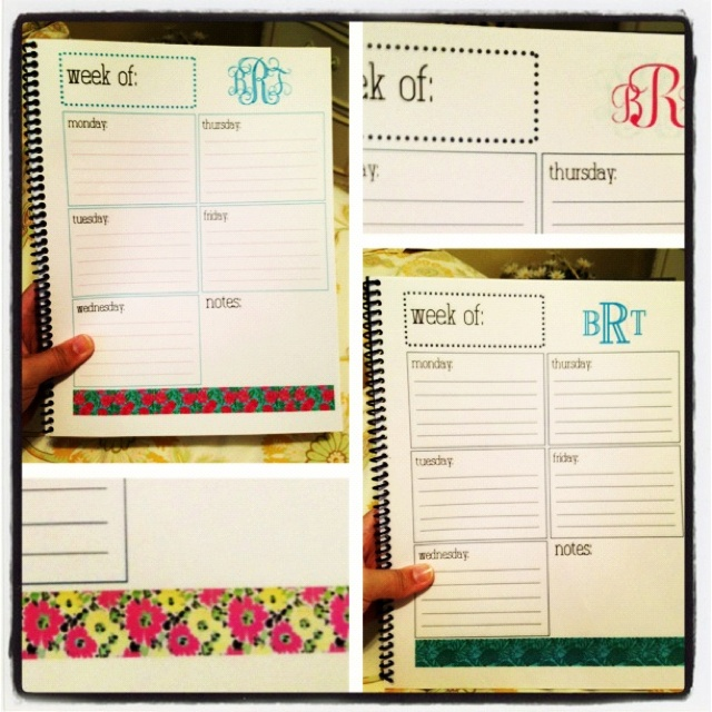 diy weekly planner  template made on indesign and printed