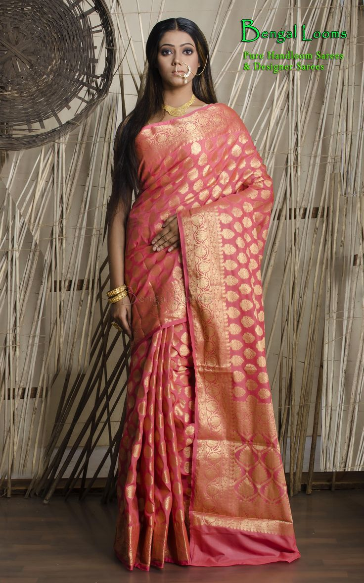 A Beautiful Peach And Gold Art-Crepe Banarasi Saree  Available For Sale From Bengal Looms