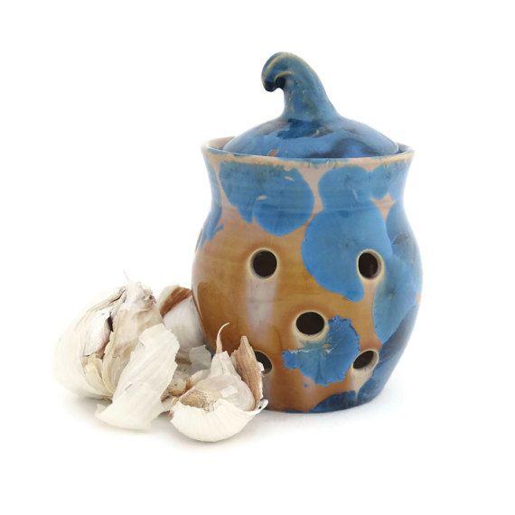 Blue Garlic Holder  Candle Holder Crystal Glazed by SunbirdPottery