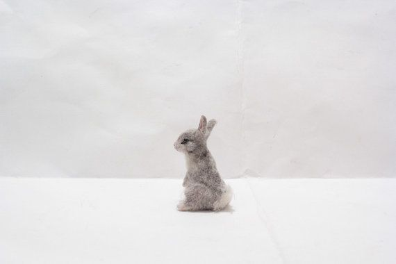 OOAK Miniature Gray Bunny Rabbit  by Malga by malga1605 on Etsy