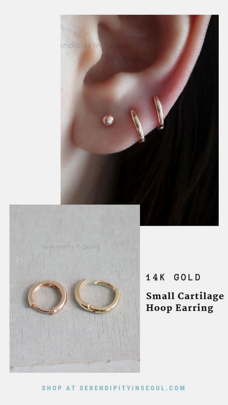14k Yellow Gold 1//2in Tiny Diameter Hinged Hoop Huggie Earrings