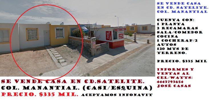 Se Vende Casa en Cd. Satelite. El Manantial. En San Luis Potosí. – Venta De Casas En San Luis Potosì