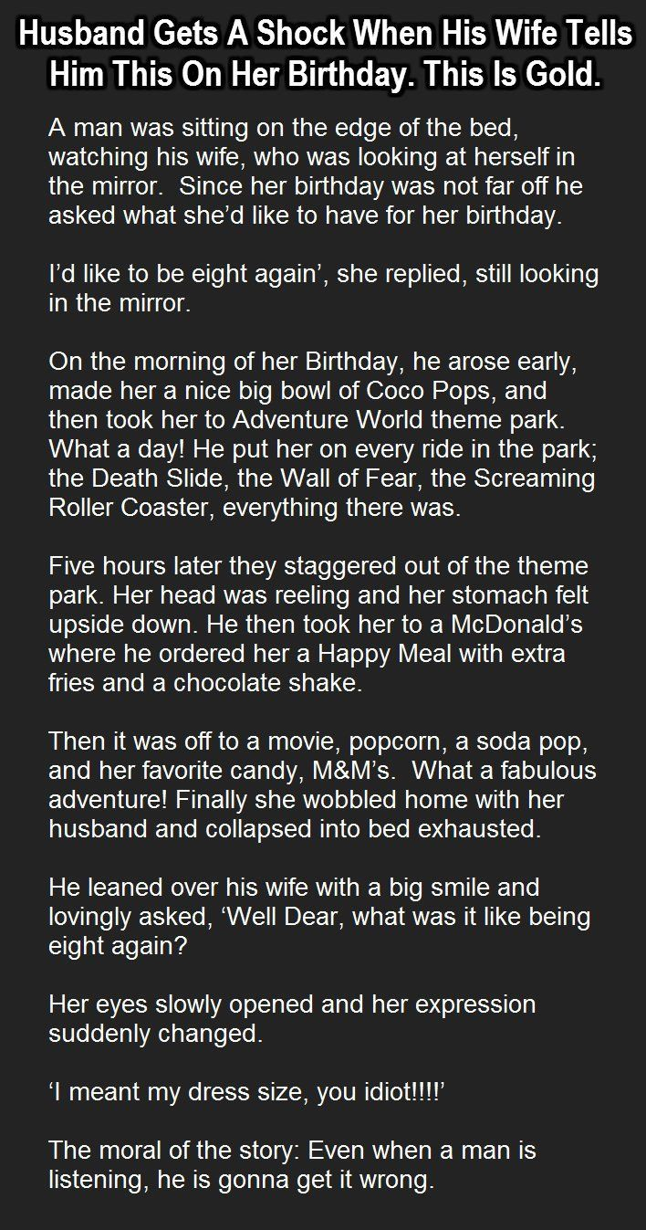 Husband Gets A Shock When His Wife Tells Him This Her Birthday funny jokes story funny quote funny quotes funny sayings joke hilarious humor stories