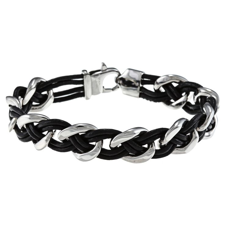 <li>Bold design of this bracelet features steel links woven together with leather cords<li>Bracelet is crafted of polished stainless steel and smooth black leather<li>Edgy style of this jewelry will enhance your casual wardrobe