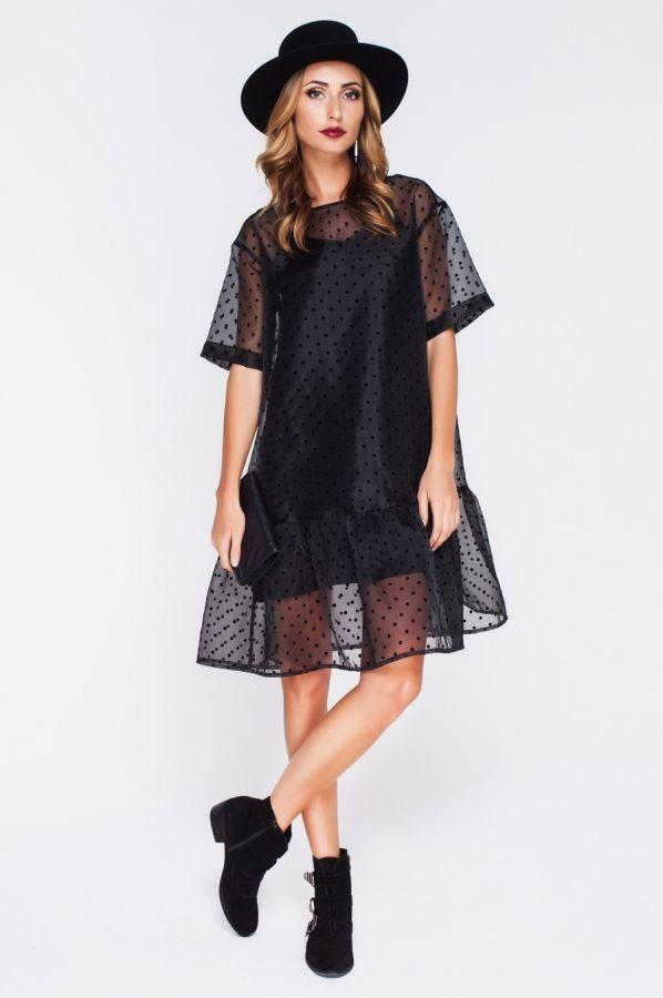 Свободное платье из органзы с нижним платьем из шелка.   Skazkina