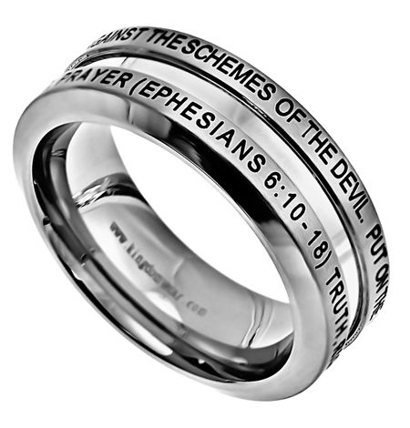 """'Armour Of God' - Men's Industrial Band is a Brushed Stainless steel ring with high polish center, beveled sides and comfort fit interior.  Top of ring band is engraved and black enamel filled, reading """"Put On The Full Armor Of God That You May Be Able To Stand Firm Against The Schemes Of The Devil"""""""".  Bottom of ring band says, """"Truth, Righteousness, Peace, Faith, Salvation, The Word, Prayer (Ephesians 6:10-18)""""."""