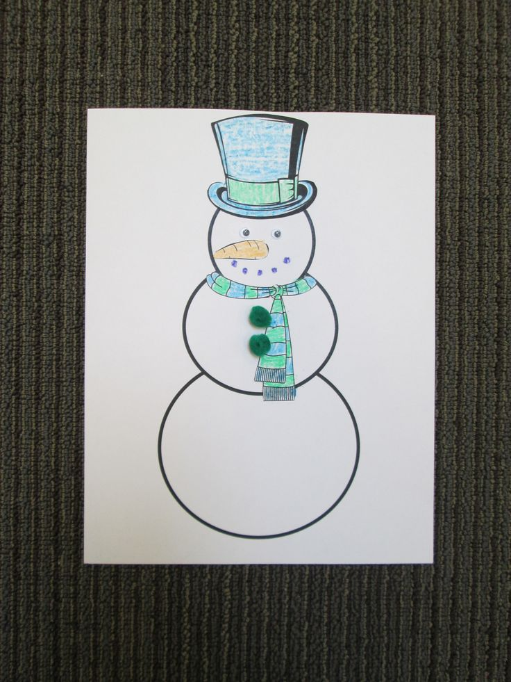 "Snowman craft for ""Winter"" storytime. The hat, scarf, and"