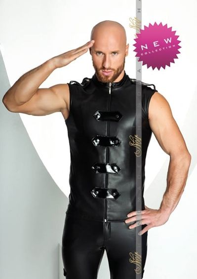 Men's Sexy Clubwear Military Vest, This super sharp sexy style from Noir Handmade has just hit our shores.