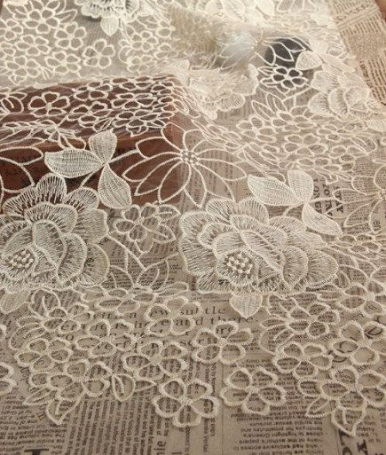 Beige Embriodered Lace Fabric Large Peony Floral by lacetime, $10.99