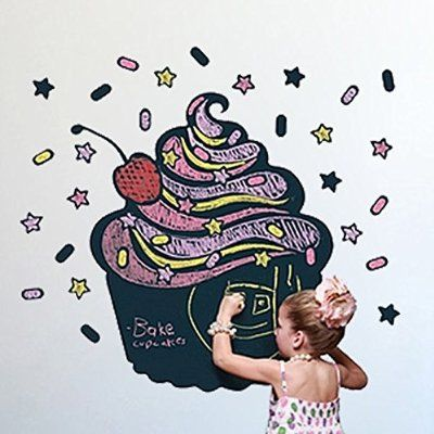 Fashion Designed Cupcake Shaped Removed Vinyl Blackboard Wall Sticker Kitchen Note Caf¨¦ Menu Blackboard Sticker Kids Room Decoration House Decoration
