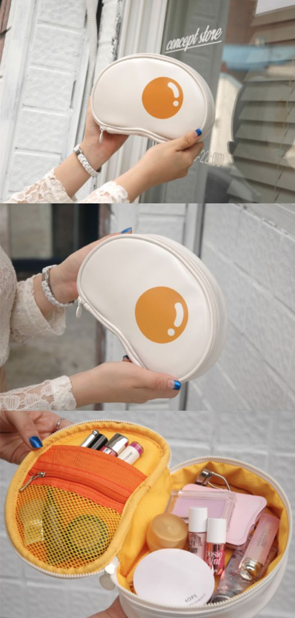 This adorable Fried Egg Cosmetic Pouch is real one-of-a-kind! It has a cute look of a fried egg, and the unique design makes this pouch easier to carry and organize your cosmetics!