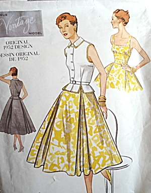 VOGUE VINTAGE MODEL DRESS PATTERN ORIGINAL 1952 DESIGN