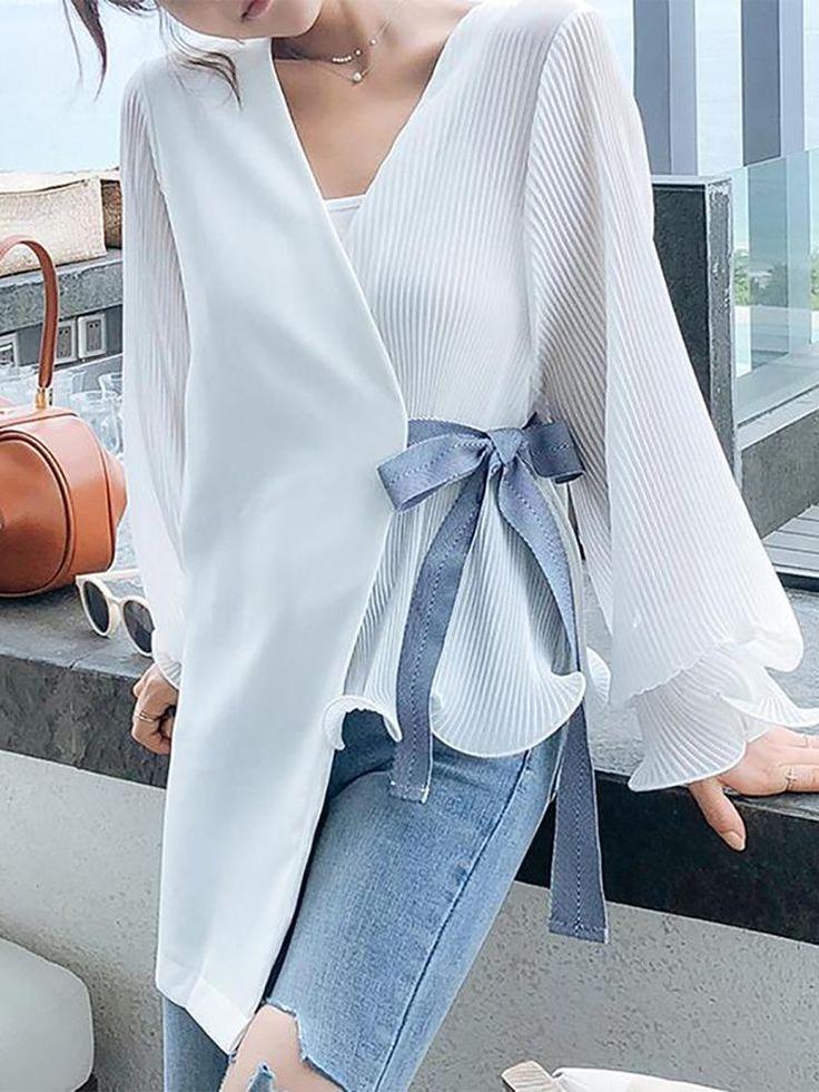 Mode V-Ausschnitt lose Langarm-Chiffon-Blusen für Frauen chic Blusen für Frauen ...