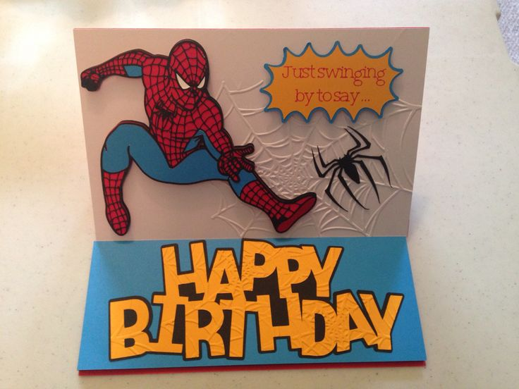 Spiderman birthday card made with Cricut Explore.