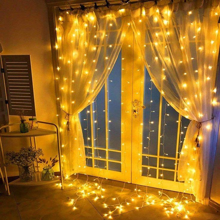 Fenster Vorhang Lichterkette Fee Funkeln Eiszapfen Sternenlichter