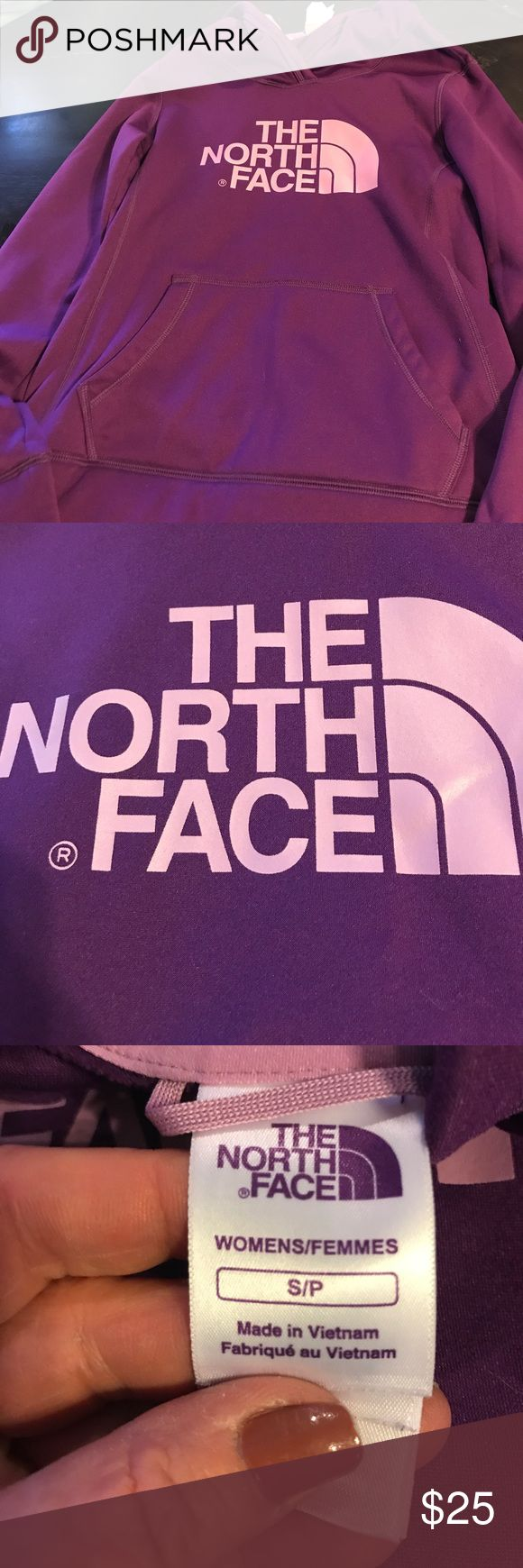 Women's North Face Purple Small Hoodie It's getting cold out ... Purple with pink lettering hoodie in small . Great Condition !!!! Notth Face Tops Sweatshirts & Hoodies