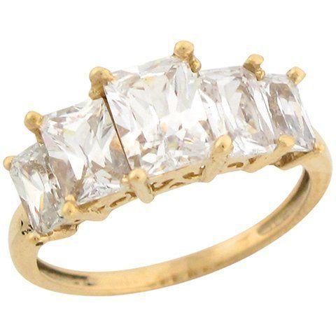 10k Yellow Gold Five Stone White CZ Regal Designer Ladies Ring Jewelry Liquidation. $178.15