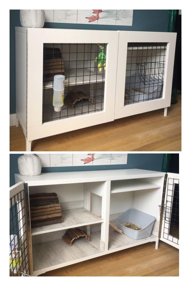 Bunny / rabbit hutch Ikea besta hack! DIY Konijnenhok Ikea Besta