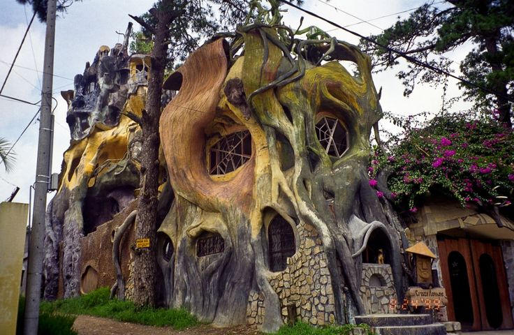 "A strange hotel designed by Dang Viet Nga, an avant-garde artist who got away with more weirdness than she otherwise would because she was the daughter of Ho Chi Mihn's successor. It's known as ""Crazy House"". Photo by upyernoz"