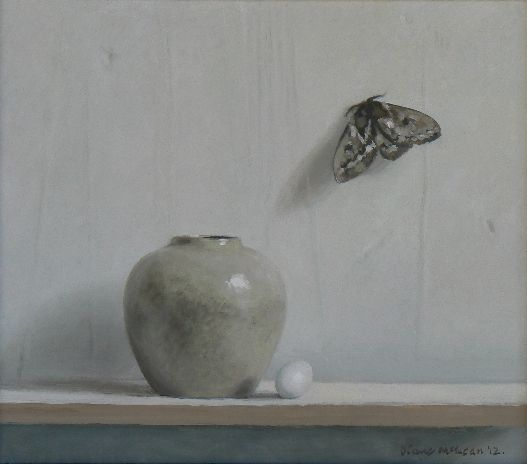 Diane McLean Still life with ginger jar, pigeon egg and moth (2012), oil on board, 335 x 295 mm.