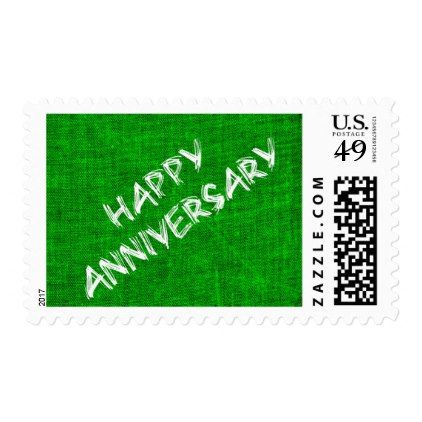 Green And White Happy Aniversary Postage - anniversary gifts ideas diy celebration cyo unique