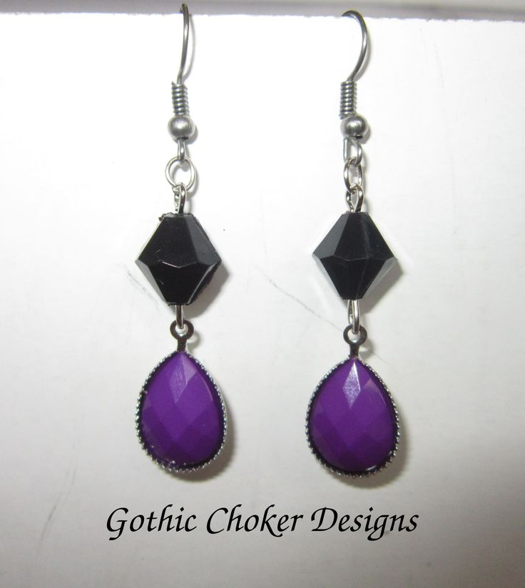 Black and purple stone earrings.  R60