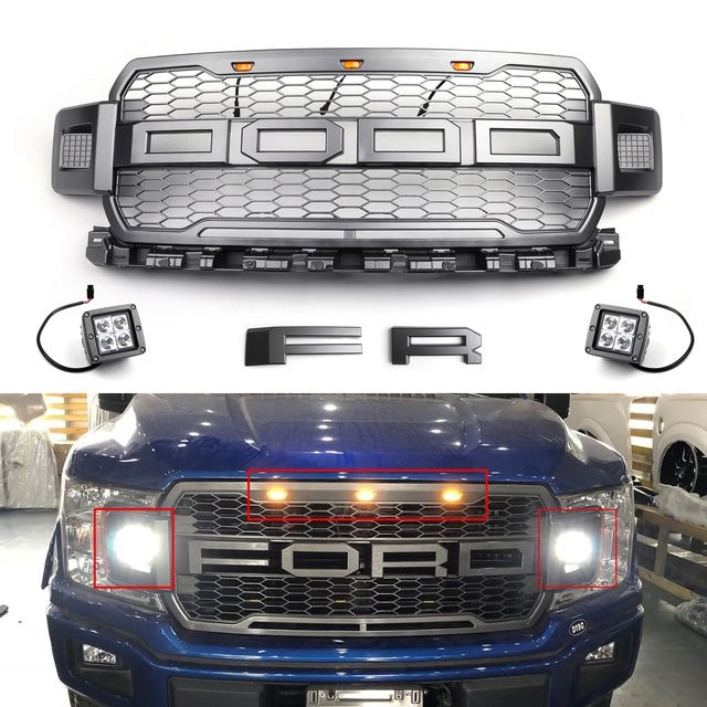 Raptor Style Grill For Ford F 150 2018 Free Pair Side Pod Spot