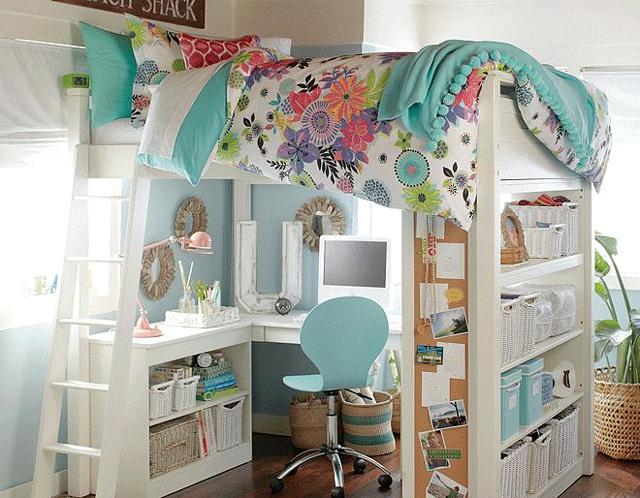 sleep and office loft girls bedroom