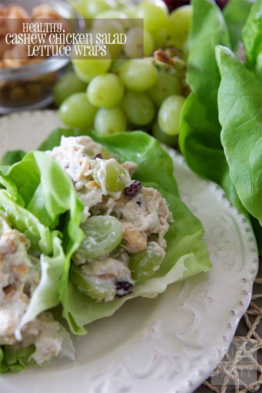 Healthy Cashew Chicken Salad Lettuce Wraps on MyRecipeMagic.com