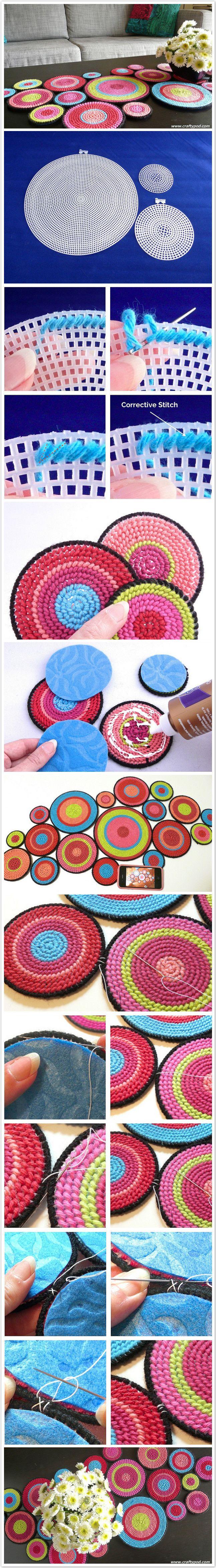 Table Runner From Plastic Canvas Circles  ראנר עיגולי רשת פלסטיק ריקמה