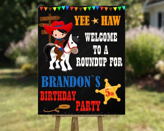 Rodeo Party Decorations Cowboy Birthday Party Sign Western Cowboy Birthday Party Sign Party Sign Poster Cake Table