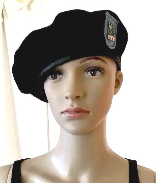 MILITARY US ARMY BERET BLACK WOOL Special Forces W/ Blue Flash & Cat Pin? 22"