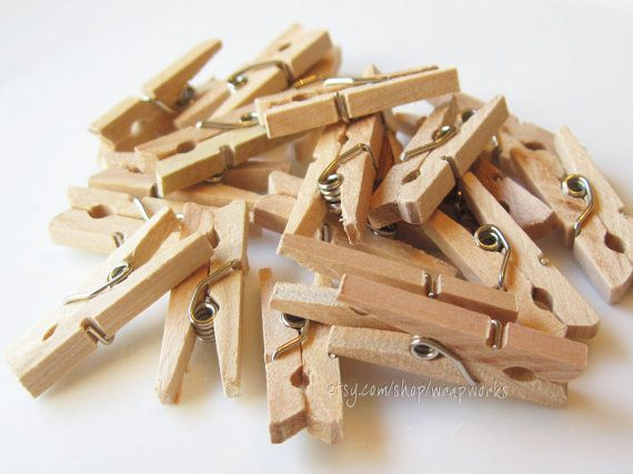50 Darjeeling Tea Stained Mini Clothes Pins  Tiny 1 by wrapworks, $5.00