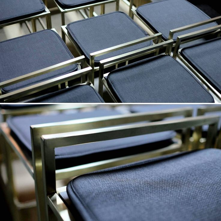 A batch of custom Albert chairs and stools in a unique brass electroplated finish.