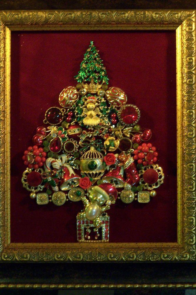 "Vintage, Rhinestone, Costume Jewelry Framed Christmas Tree, ""Christmas Joy"""