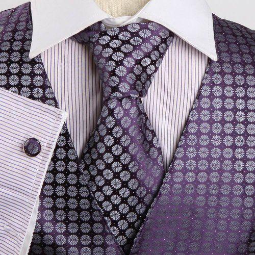 mens dress vest purple paisleys formal vest for wedding
