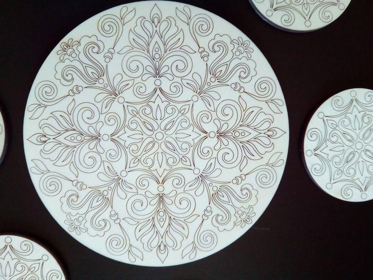 Completo centro tavola e sottobicchieri in legno di DragonHawk666 su Etsy