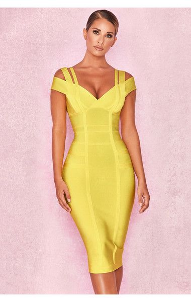 138d0d886f2 Clothing : Bandage Dresses : 'Mimi' Yellow Off Shoulder Bandage Dress