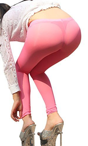 GO Love Womens Sexy Slimming Ultra Sheer Nylon Spandex MicroMesh Legging Pink S ** Click image for more details.