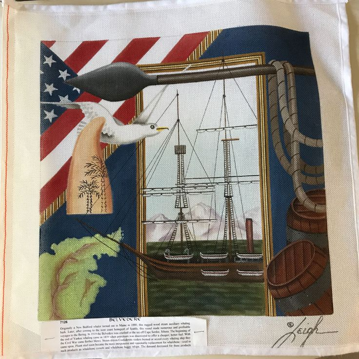 #Belvedere New Bedford #Whaler #Needlepoint Canvas Hand Painted  Leigh 7126 #Ship #LeighDesigns