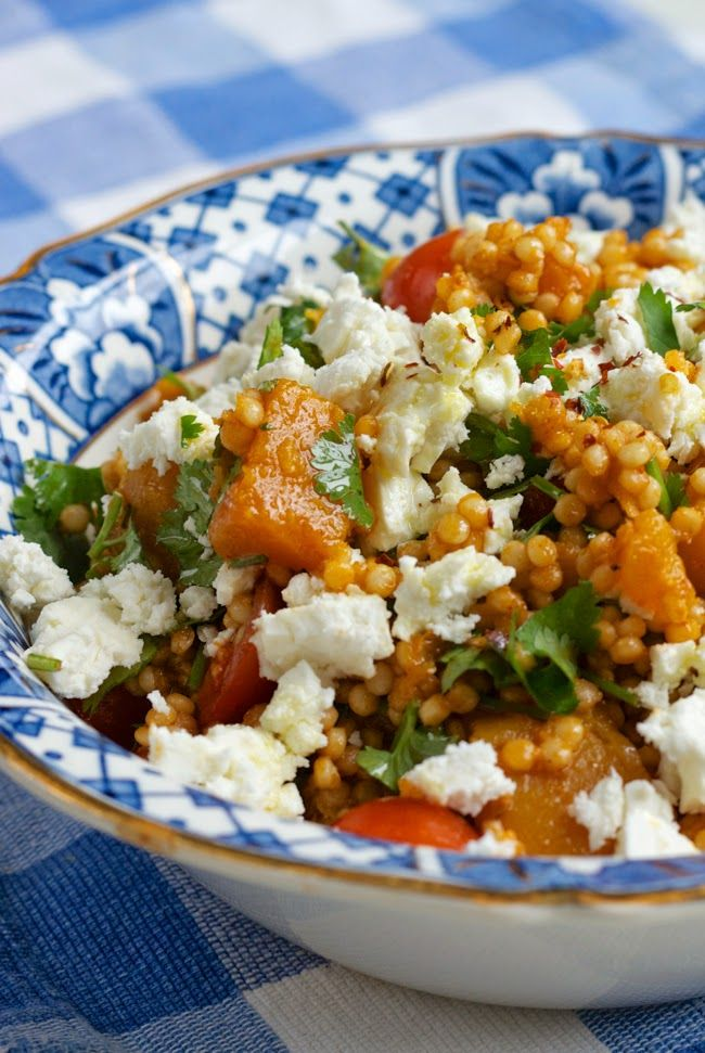 Giant cous cous with spiced squash and feta