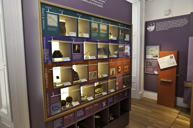 Inside the John Gray Centre. This shows the timeline of East Lothian's history and in the background you can see one of our postcard stampers which children can collect. www.johngraycentre.org for further information.