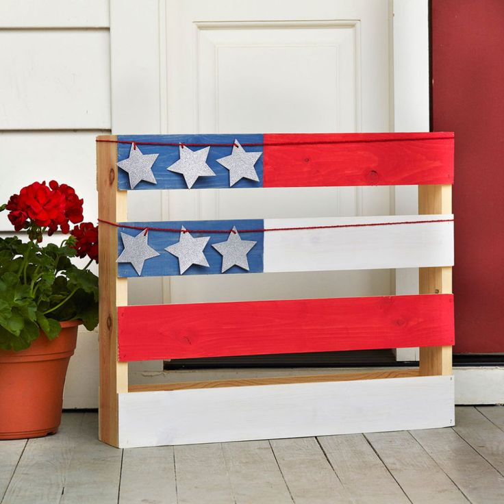 Martha stewart crafts vintage d cor wax red white blue for White painted pallets