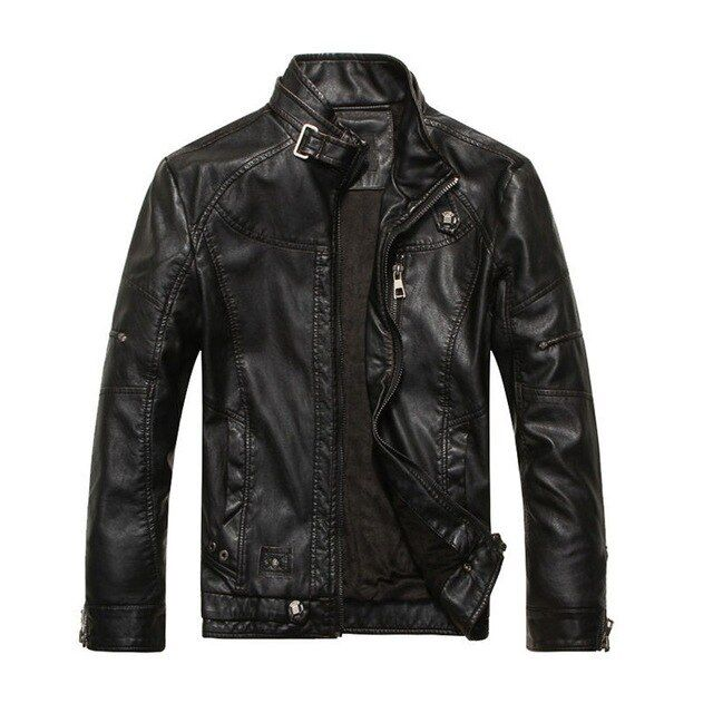 Kh men's leather jackets coat men stand collar motorcycle jacket casual warm pu leather outwear male – Clothingleague