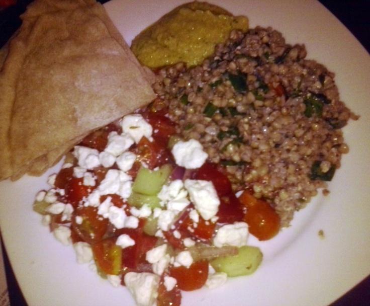 Tabouli and Greek Salad with Hummus and Pita