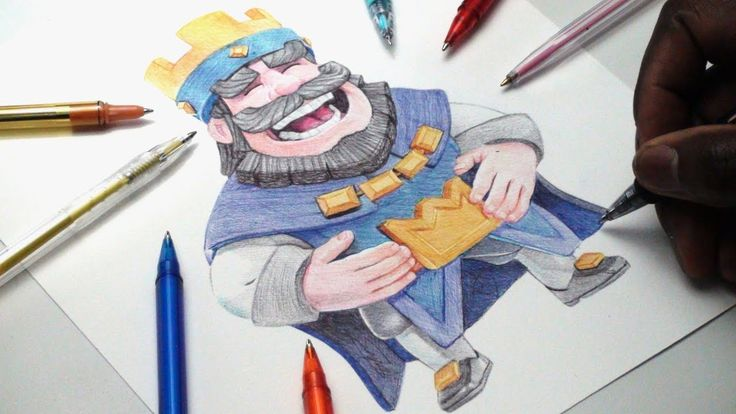 King of Clash Royale ballpoint pen drawing. Drawing with a pencil sketch or rubber makes it hard for people to believe. However with time and practice anything is possible.
