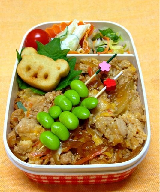 副菜は、白菜の塩麹漬け、マカロニサラダです。 - 9件のもぐもぐ - 親子丼弁当 by ykoko